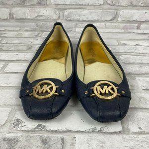 Michael Kors 10W Navy Blue Moccasin Flats Shoes